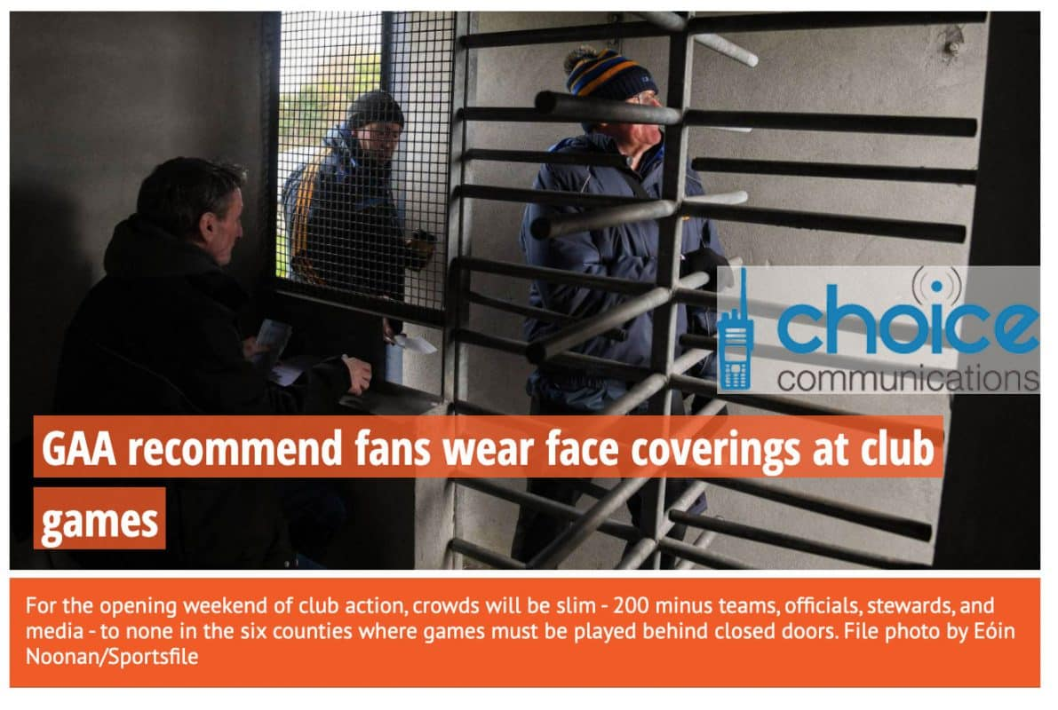 Face Masks at GAA Matches in Ireland Image